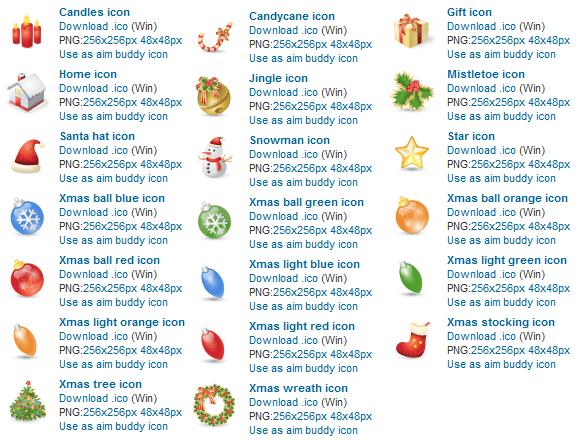 Windows icons, ico and png file format. Candles icons, candycane icon, gift icon, home icon, jingle icon, mistletoe icon, santa hat icon, sonowman icon, star icon, xmas ball icons, christmas tree icon, christmas wreath icon