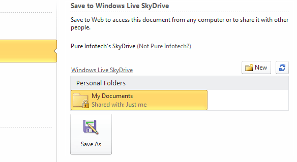 Windows Live SkyDrive Microsoft Office 2010 folder structure