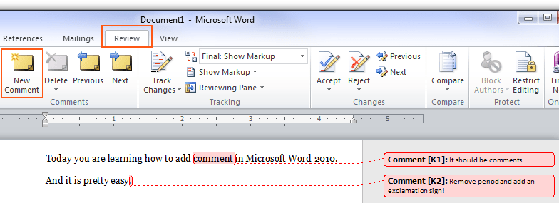 How to insert comments in a Microsoft Word 2010 document \u2022 Pureinfotech