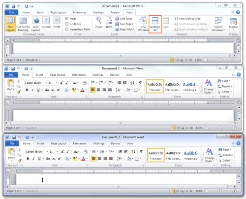 Microsoft Office 2010 - Arrange All