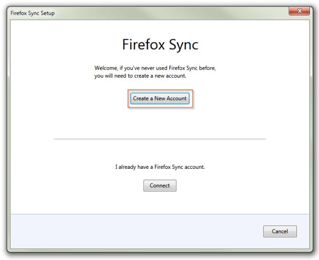 Firefox Sync Setup Wizard - Create a New Account