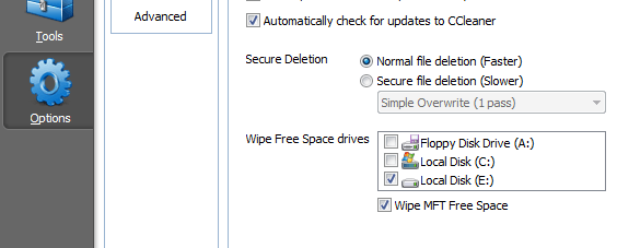 CCleaner - Automatic Wipe Options
