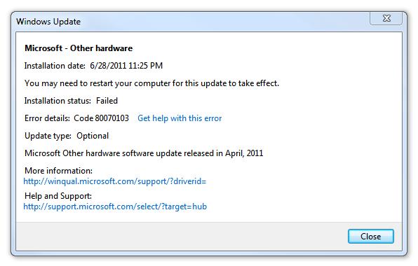 Windows Update error 80070103