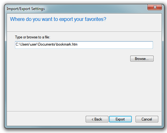Internet Explorer - Export/Import choose the path to store favorites