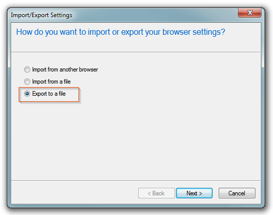 Internet Explorer - Export/Import to file