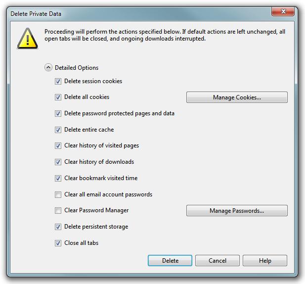 Opera delete cache - Delete Private Data