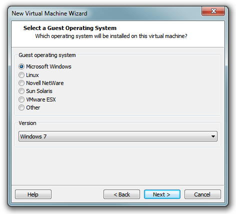 VMware Workstation 8 - Select operating system