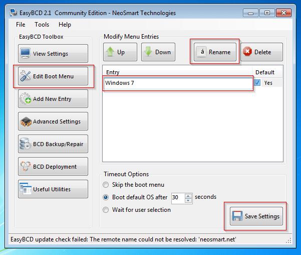 EasyBCD - Edit Boot Menu in Windows 7