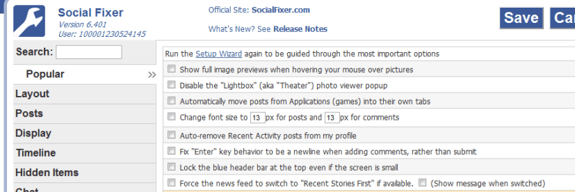 Social Fixer Facebook Timeline User Interface