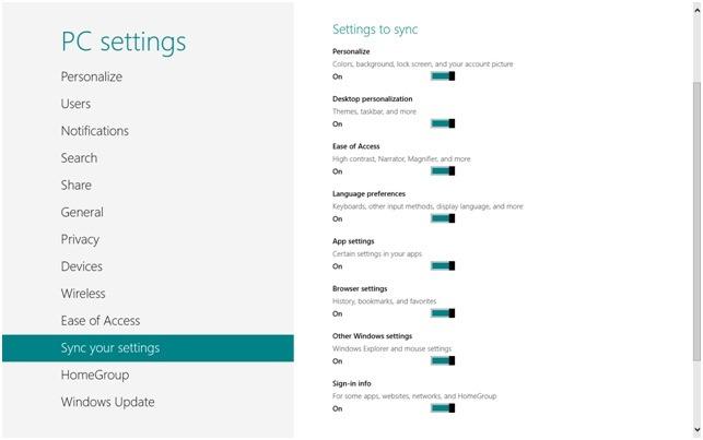 Sync your settings - Windows 8