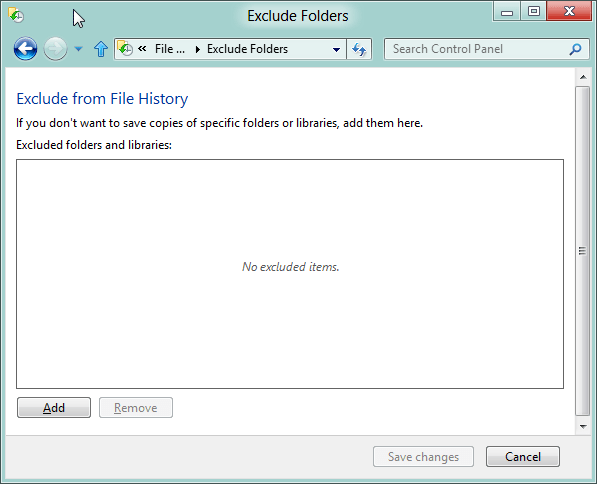 Exclude folders File History Windows 8