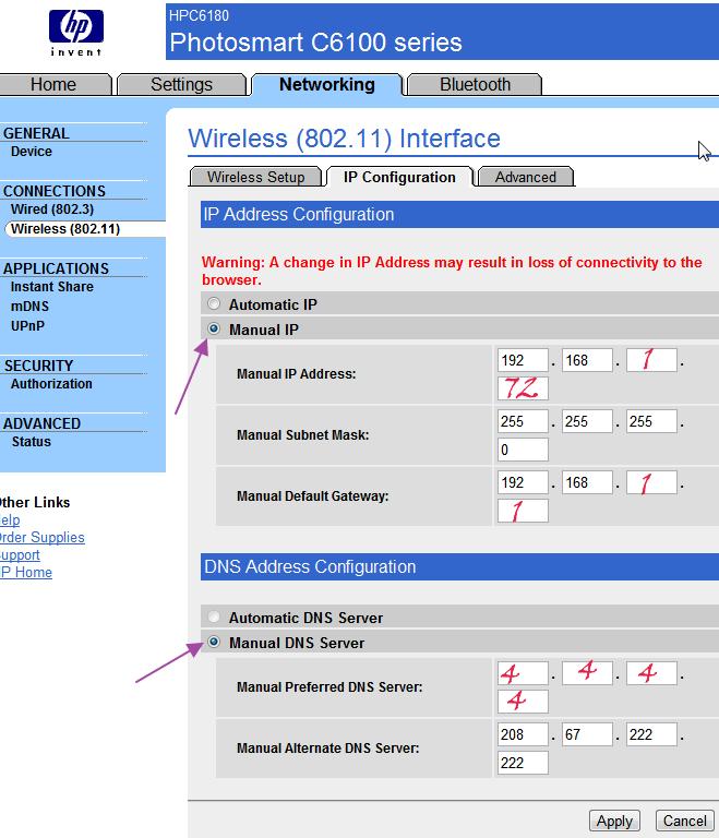 Wireless printer configuration - Web server page