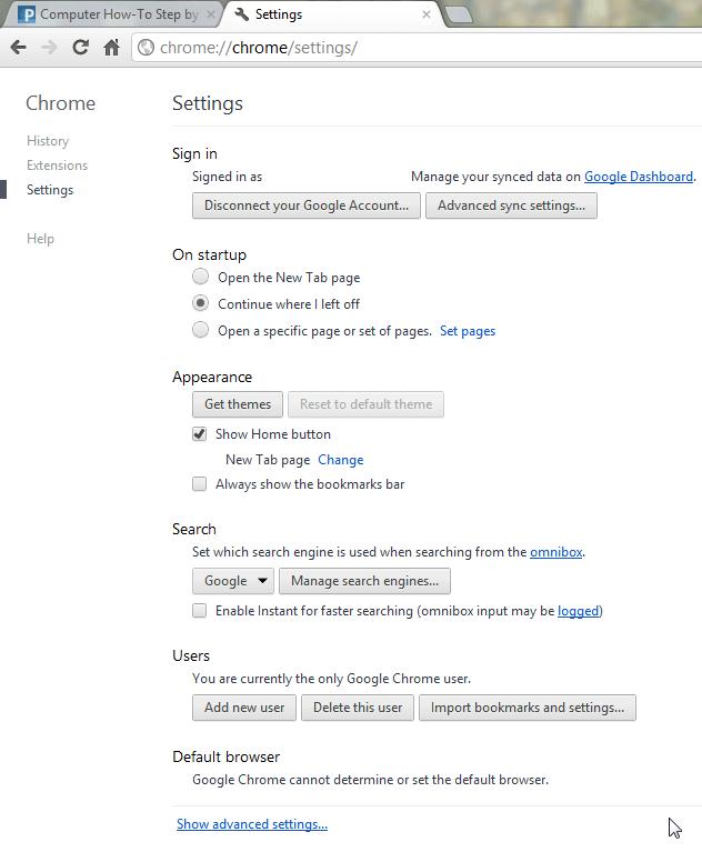 Google Chrome 19 new settings page