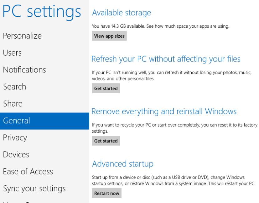 PC settings General screenshot