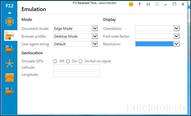 Emulation - F12 developer tools IE11