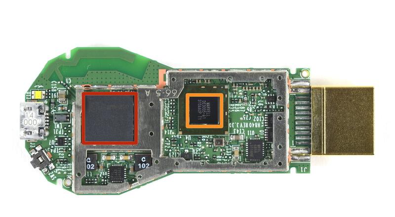 Inside of Google's Chromecast HDMI dongle