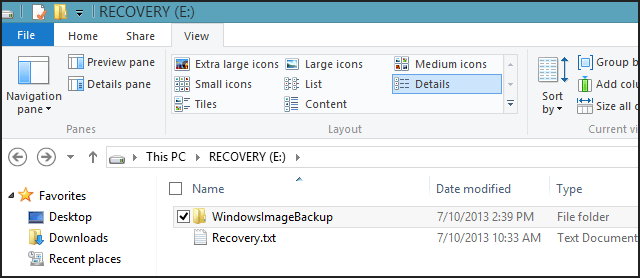 WindowsImageBackup folder in Windows 8.1