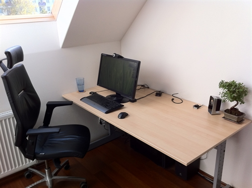 Beautiful wooden workspace with abundant natural light