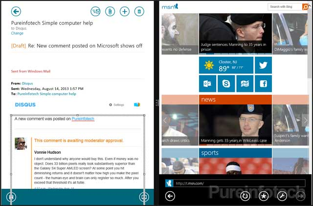 Mail split screen with IE