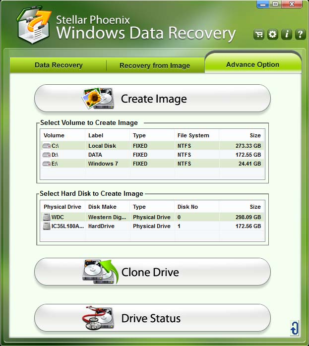 Advance Option Windows Data Recovery