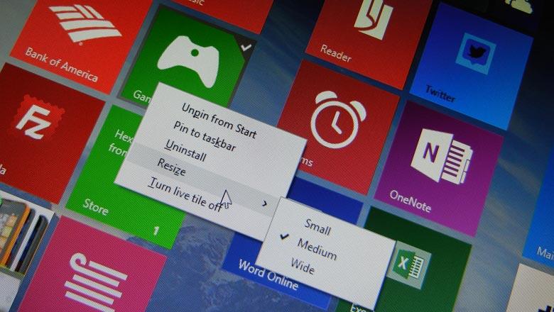 Windows 8.1 Update Start screen context menu