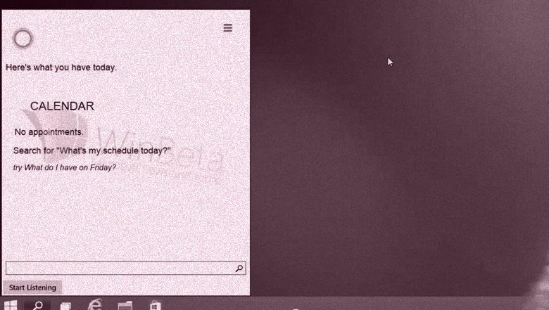 Cortana running on Windows 10