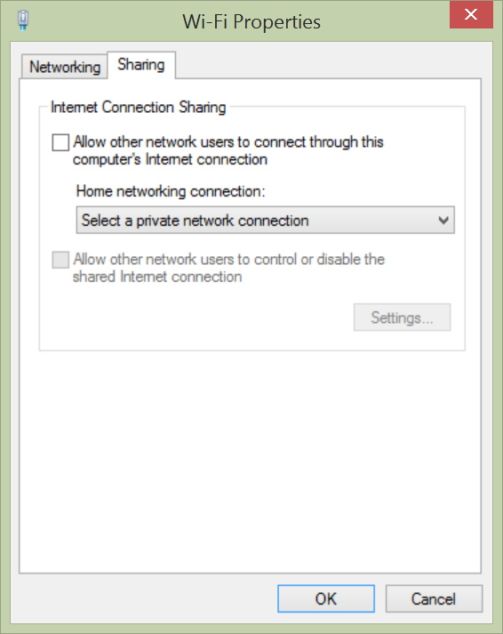 Sharing tab Wi-Fi Properties in Windows