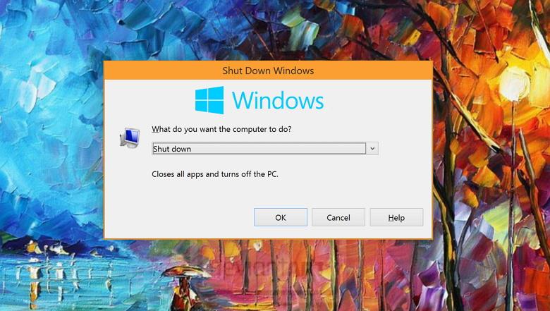 Windows 10 shutdown dialog box