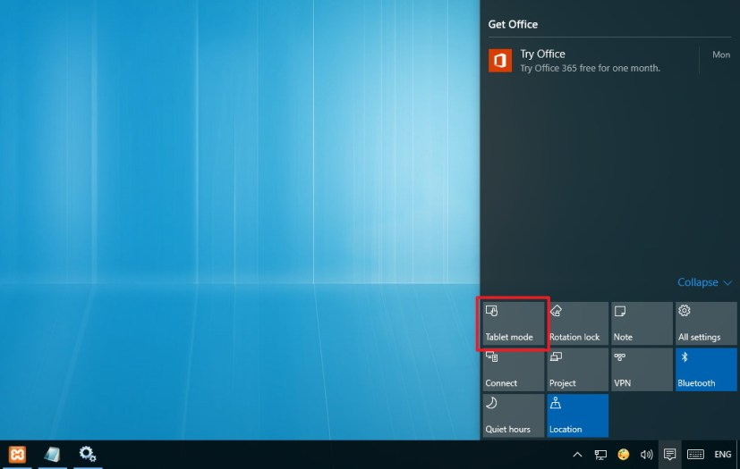 Tablet mode option on Action Center