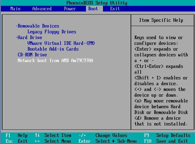 BIOS boot settings