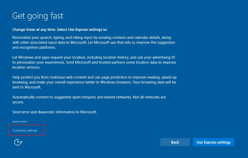 Get going fast Windows 10 setup