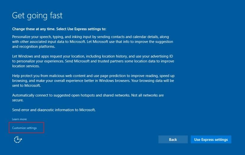 Get going fast Windows 10 setup