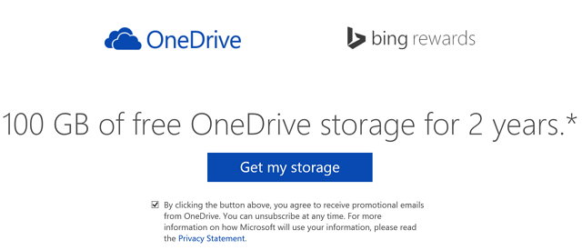 100GB of free OneDrive storage for 2 years