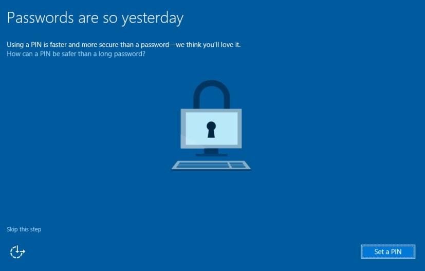 Set a PIN during Windows 10 installation