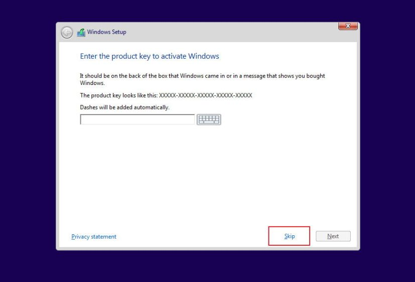 Skip Windows 10 product key during clean installation