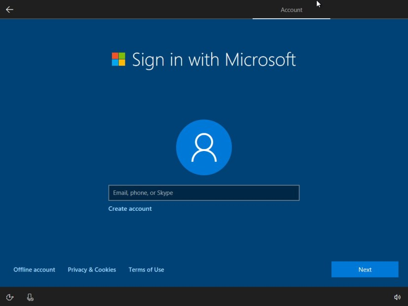 Windows 10 with Microsoft account setup