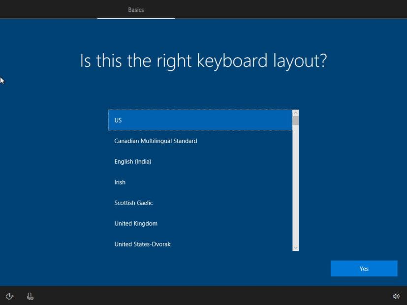 Windows 10 keyboard layout settings