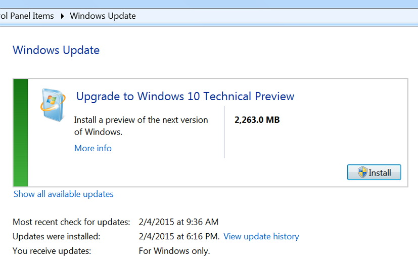 Upgrade to Windows 10 Technical Preview