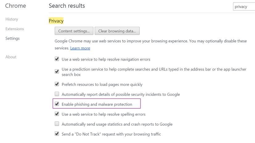 Chrome phishing and malware protection settings