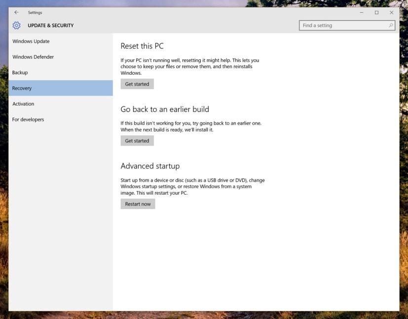 Windows 10 Reset this PC