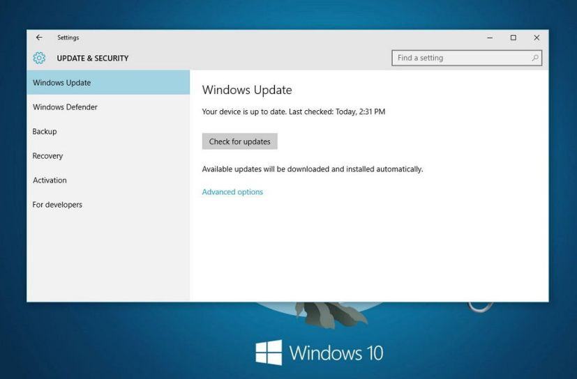 Windows 10 Check for udpates