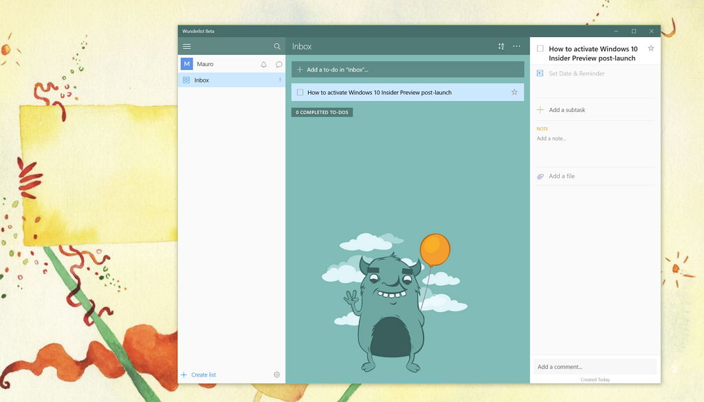 Microsoft's Wunderlist beta app for Windows 10 now avialable for