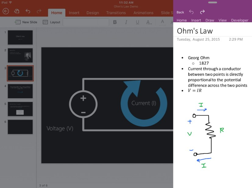 Office Slide Over feature for iPad Pro