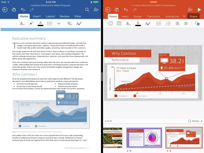 Office Split View for iPad Pro