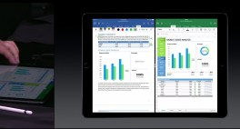 Apple iPad Pro running two Office apps side by side