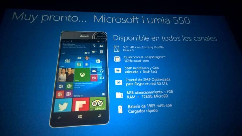 Lumia 550 tech specs