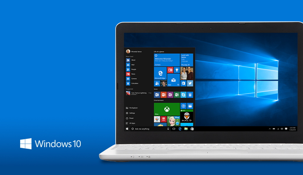 Windows 10 PC, logo, blue background