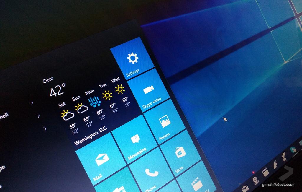 Windows 10 Start menu with default apps