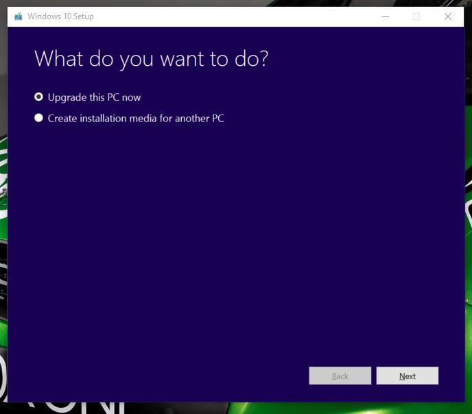 Upgrade or create media of Windows 10