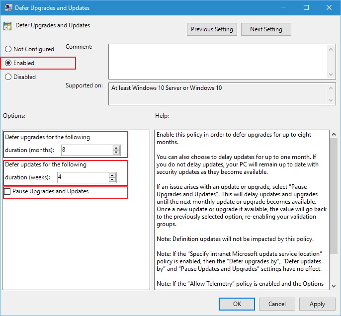 Defer Upgrades and Updates Group Policy in Windows 10
